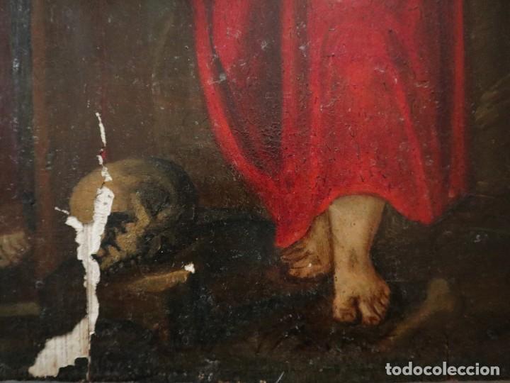 Arte: Tabla de la Crucifixión. Escuela Española del siglo XVII. Medidas de 73 x 54 cm. - Foto 18 - 222506426
