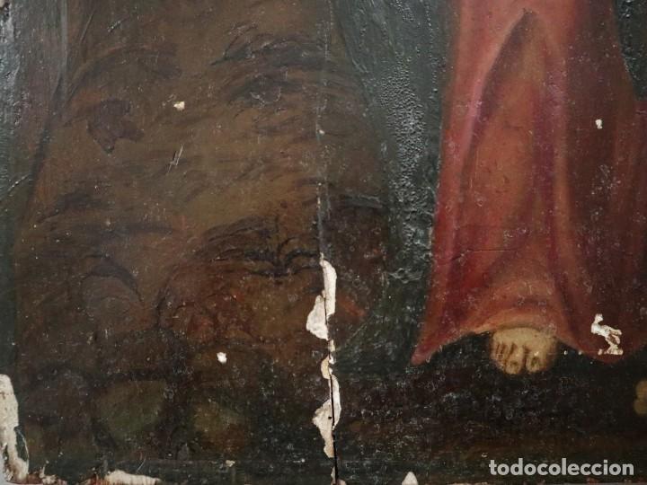 Arte: Tabla de la Crucifixión. Escuela Española del siglo XVII. Medidas de 73 x 54 cm. - Foto 20 - 222506426