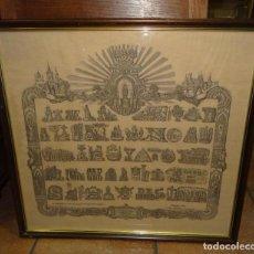 Arte: LITOGRAFIA LA SALVE EN JEROGLÍFICO PEREGRINACIÓN A LA VIRGEN DEL PILAR 1880 2ª EDICCIÓN SEDA. Lote 222550327