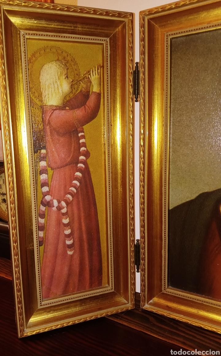 Arte: TRIPTICO REIGIOSO SOBRE MADERA - VIRGEN MARIA Y ARCANGELES - MADERA TALLADA Y PAN DE ORO - ALTA CALI - Foto 4 - 222678247