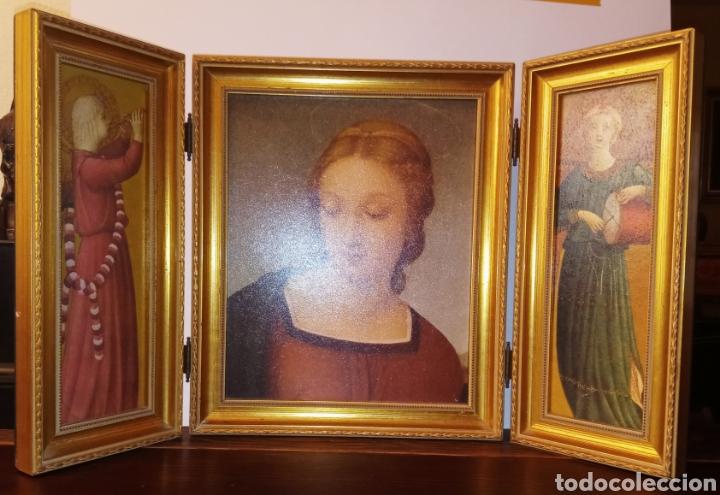 Arte: TRIPTICO REIGIOSO SOBRE MADERA - VIRGEN MARIA Y ARCANGELES - MADERA TALLADA Y PAN DE ORO - ALTA CALI - Foto 7 - 222678247
