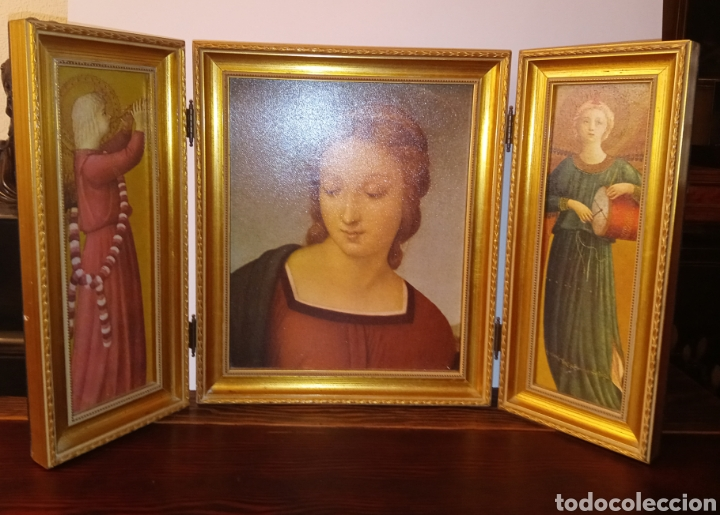 Arte: TRIPTICO REIGIOSO SOBRE MADERA - VIRGEN MARIA Y ARCANGELES - MADERA TALLADA Y PAN DE ORO - ALTA CALI - Foto 8 - 222678247