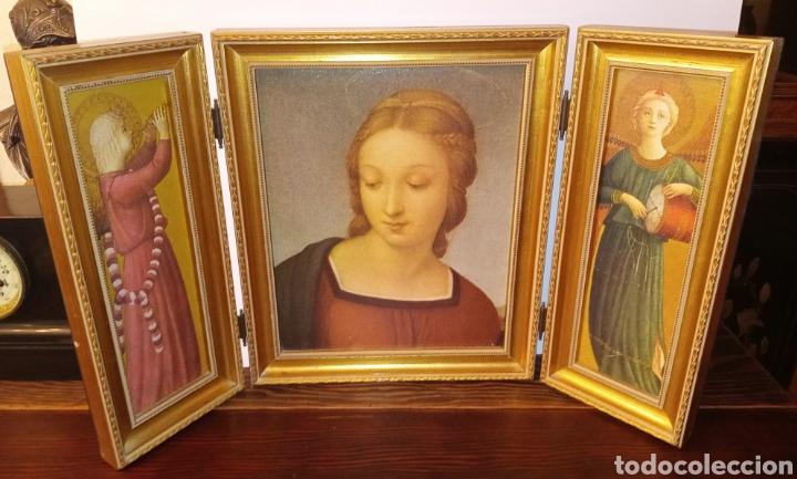 TRIPTICO REIGIOSO SOBRE MADERA - VIRGEN MARIA Y ARCANGELES - MADERA TALLADA Y PAN DE ORO - ALTA CALI (Arte - Arte Religioso - Trípticos)