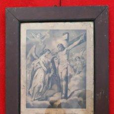 Arte: GRABADO ANTIGUO DE JESUS EN LA CRUZ Y LA VIRGEN STA. LUTGARDA DE 45 X 34 CMS.. Lote 222740540