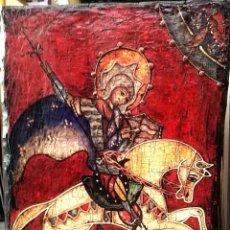 Arte: ANTIGUO RETABLO SOBRE MADERA SANT JORDI, SAN JORGE. 75X50 CM. Lote 222778797