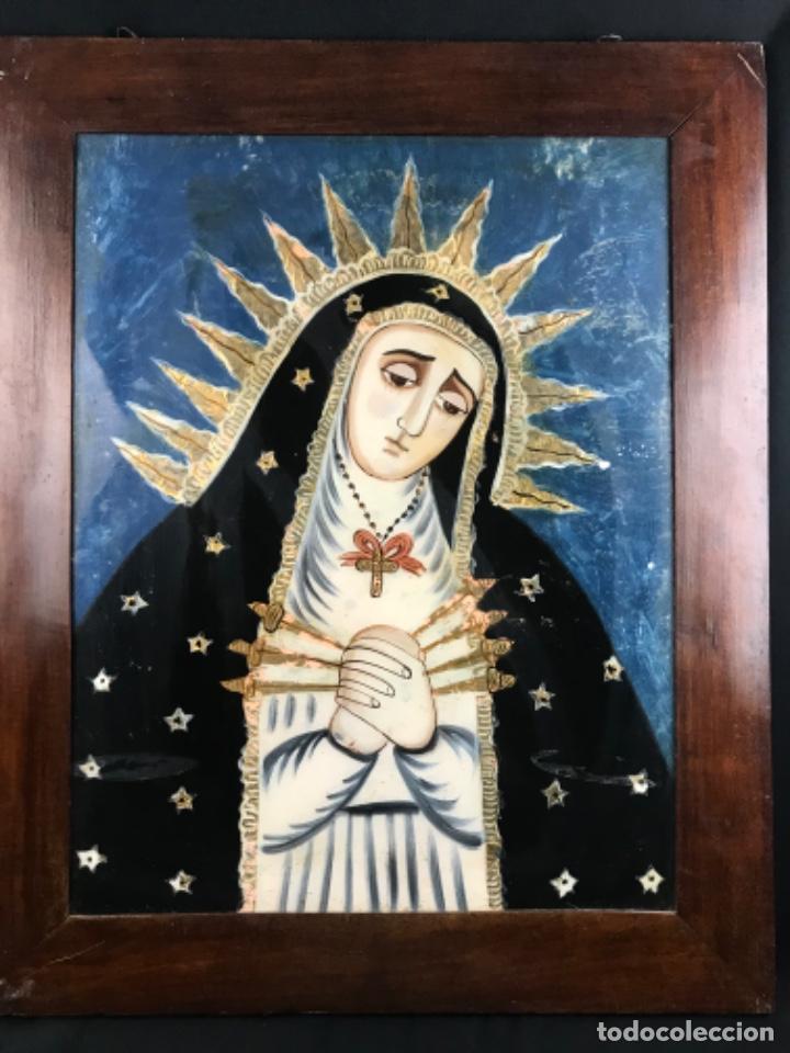 ESPECTACULAR ( 67X55CM) VIRGEN DOLOROSA ESCUELA COLONIAL PINTADA BAJO CRISTAL PRIN SG XIX (Arte - Arte Religioso - Pintura Religiosa - Oleo)