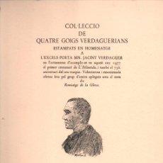Arte: COL.LECCIÓ DE QUATRE GOIGS VERDAGUERIANS (VILANOVA 1977). Lote 222956325