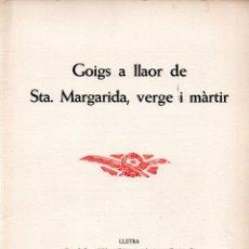Arte: GOIGS SANTA MARGARIDA - DÍPTICO Y AGUAFUERTE DE JOAN PALET (MONTANER Y SIMÓN). Lote 223123790