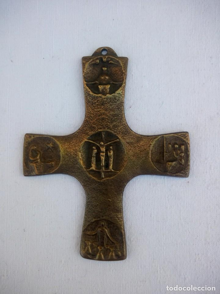 ANTIGUA CRUZ HECHA EN BRONCE CRUCIFICACION (Arte - Arte Religioso - Escultura)