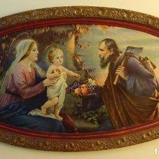Arte: LITOGRAFÍA / CROMOLITOGRAFÍA ENMARCADA DE LA SAGRADA FAMILIA. FORMATO MARCO 44,5 X 86 CM. Lote 223203381