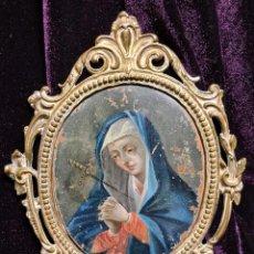 Arte: VIRGEN DE LOS DOLORES OLEO SOBRE COBRE SIGLO XVIII. Lote 223219287