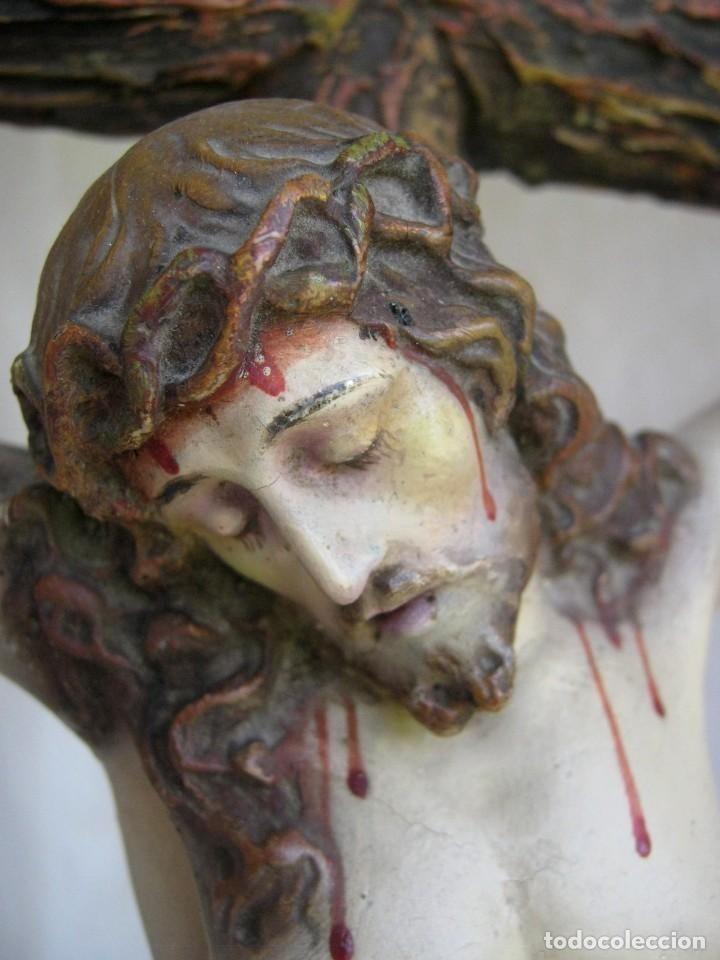 Arte: c.1880 Gran Cristo del Perdón - EL ARTE CRISTIANO OLOT . 90 cm . Pasta de madera Cruz peana Calavera - Foto 2 - 122224563