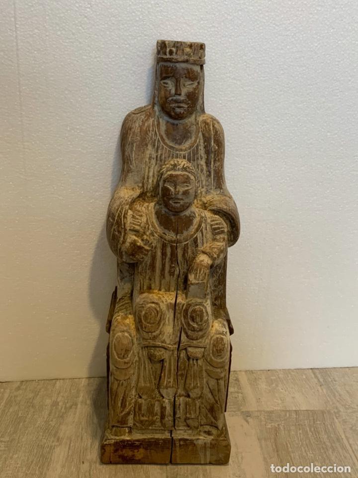VIRGEN CON NIÑO DE ESTILO ROMANICO (Arte - Arte Religioso - Escultura)