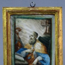 Arte: VITELA PINTADA REPRESENTANDO A SAN BASILIO MARCO MADERA DORADA DE ÉPOCA ESCUELA ITALIANA SIGLOS XVII. Lote 223586940