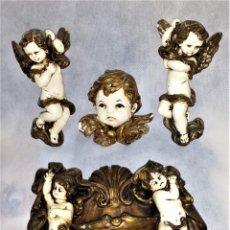 Arte: 5 QUERUBINES / ANGELITOS ANTIGUOS FRANCIA (SIGLO XIX) EN MADERA POLICROMADA - ENVÍO GRATIS. Lote 223650485