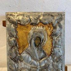Arte: ANTIGUO ICONO VIRGEN EN PLATA DE LEY. Lote 223679163