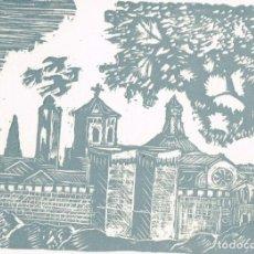 Arte: GRABADO DEL MONASTERIO CISTERCIENSE DE SANTA MARÍA DE POBLET EL TEXTO FELICITA LA NAVIDAD DE 1968. Lote 223682928