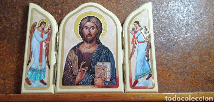 RETABLO DE CRISTO CON SUS ÁNGELES FABRICADO EN ITALIA (Arte - Arte Religioso - Retablos)