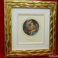Arte: MADONNA DELLA SEGGIOLA, RAFAEL, GALERIA PITTI FLORENCIA, PLANCHA 1940 MONTAJE CUADRO. Lote 223782732