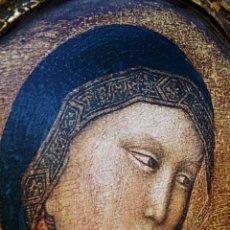 Arte: RETABLO - ICONO - VIRGEN CON NIÑO JESUS - MADERA Y PAN DE ORO - LITOGRAFIA PINTADA -. Lote 223797208