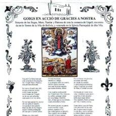 Arte: GOIGS NOSTRA SENYORA DE LAS SOGAS - BELLVÍS URGELL (S.F.). Lote 223829997