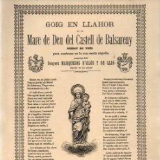 Arte: GOIGS MARE DE DÉU DEL CASTELLDE BALSARENY (LA ACADEMIA, 1890). Lote 223830972