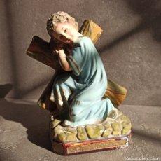 Arte: IMAGEN DE NIÑO JESÚS CON LA CRUZ * OJOS DE CRISTAL * 18 CM. Lote 223960522