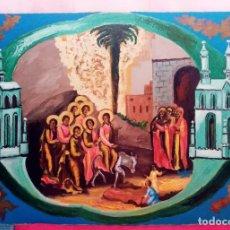 Arte: ENCANTADORA PINTURA RELIGIOSA LLENA DE LUZ Y COLOR DE GRAN DIMENSIÓN. ÓLEO SOBRE CARTÓN 104.5CMX75CM. Lote 224042495