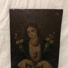 Arte: CUADRO PINTADO A OLEO SOBRE LIENZO PEGADO EN TABLA CON LA IMAGEN DE CORAZON DE MARIA. Lote 224120532