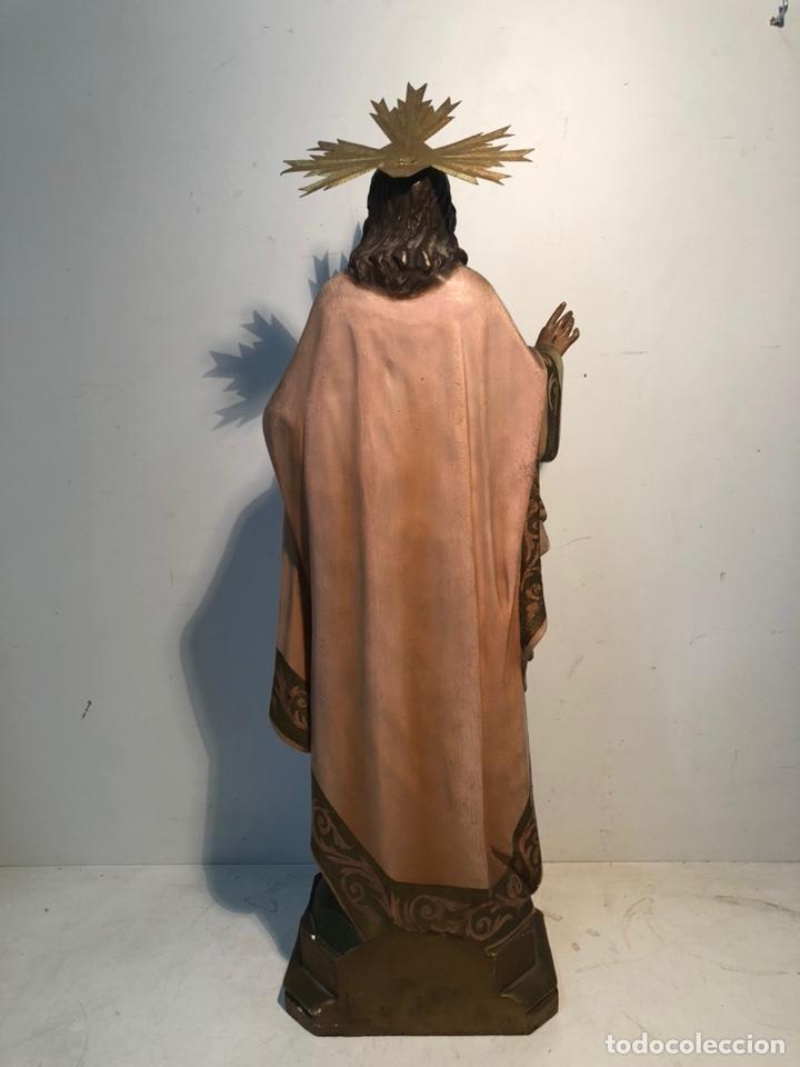 Arte: SAGRADO CORAZON DE ESTUCO OJOS DE CRISTAL ANTIGUO. MODELO OLOT 55 CM. - Foto 10 - 224193348