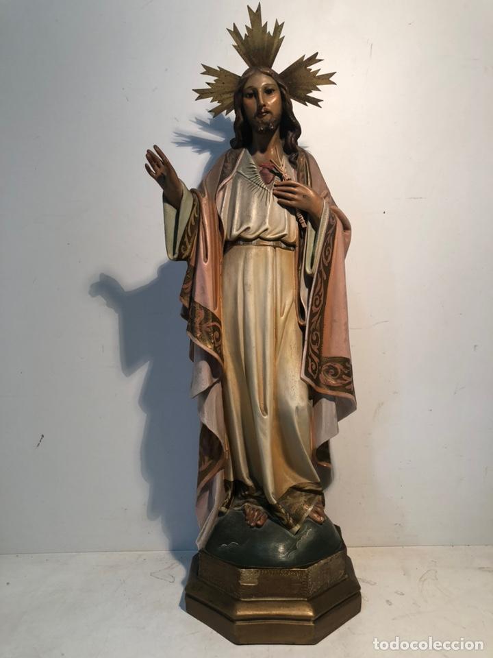 SAGRADO CORAZON DE ESTUCO OJOS DE CRISTAL ANTIGUO. MODELO OLOT 55 CM. (Arte - Arte Religioso - Escultura)