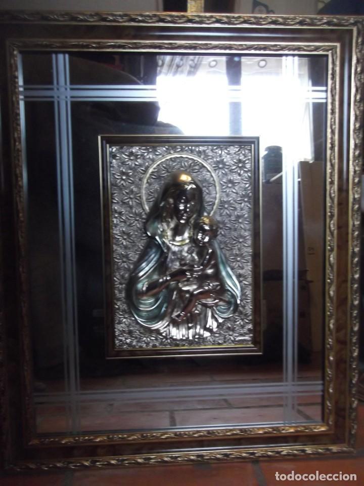 Arte: Fantástico Obra , Cuadro espejo con placa plateada de 71 X 59 ; Placa de 35 X 25 cm - Foto 2 - 224227221