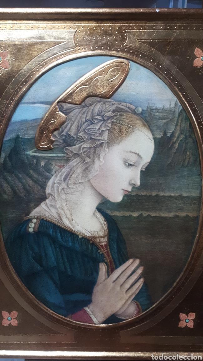 Arte: Lamina tratada en tabla de madera tallada DULCE VIRGEN MARIA ORANDO DE BERNARDINO LUINI ITALIA S. XX - Foto 2 - 224230187