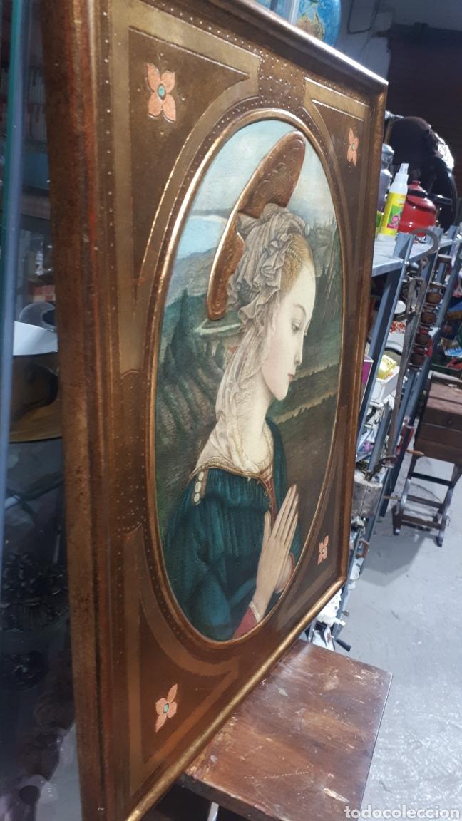 Arte: Lamina tratada en tabla de madera tallada DULCE VIRGEN MARIA ORANDO DE BERNARDINO LUINI ITALIA S. XX - Foto 3 - 224230187