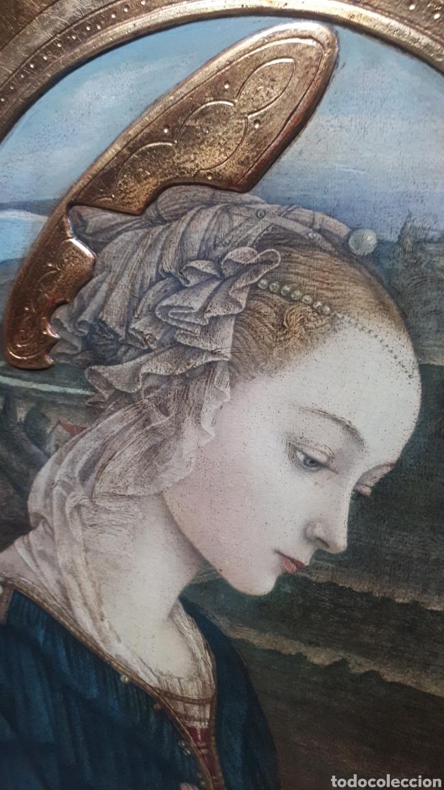Arte: Lamina tratada en tabla de madera tallada DULCE VIRGEN MARIA ORANDO DE BERNARDINO LUINI ITALIA S. XX - Foto 4 - 224230187