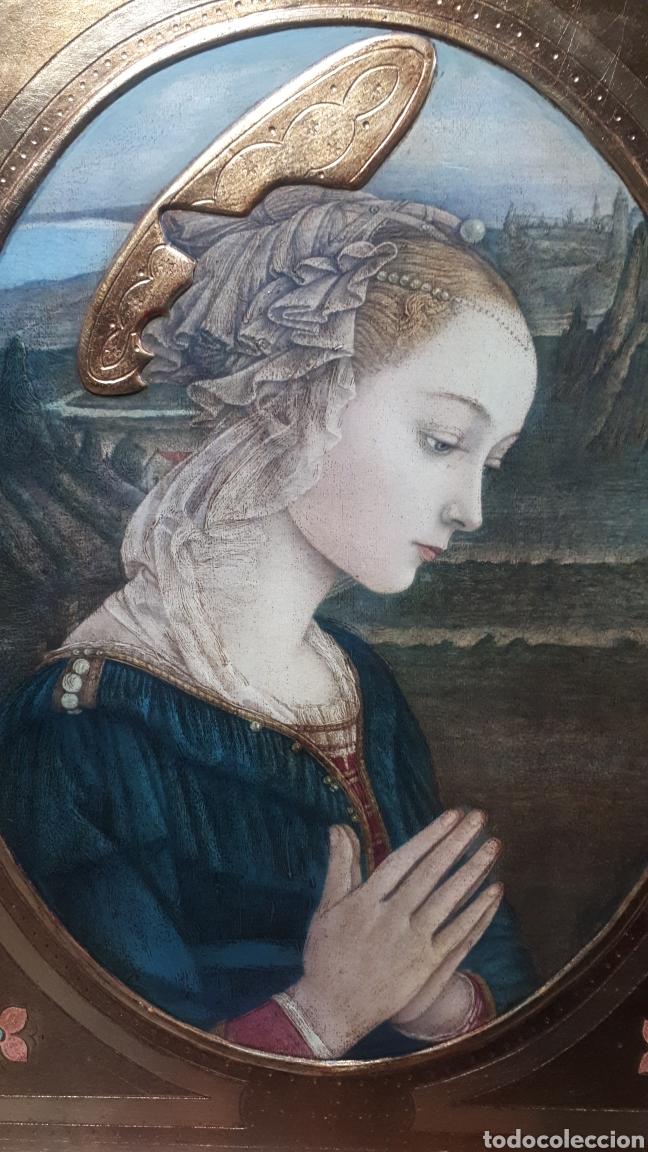 Arte: Lamina tratada en tabla de madera tallada DULCE VIRGEN MARIA ORANDO DE BERNARDINO LUINI ITALIA S. XX - Foto 5 - 224230187