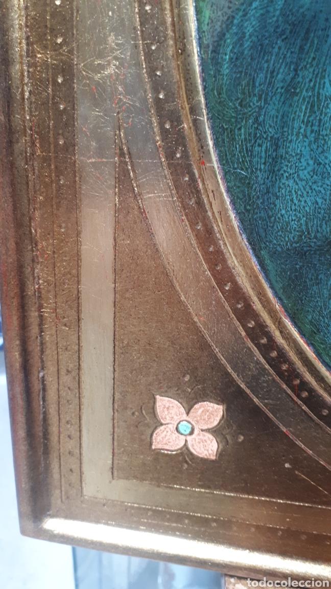 Arte: Lamina tratada en tabla de madera tallada DULCE VIRGEN MARIA ORANDO DE BERNARDINO LUINI ITALIA S. XX - Foto 6 - 224230187