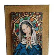 Arte: IMÁGEN VIRGEN MARIA - ÓLEO EN TABLEX M.S.XX. Lote 224336350