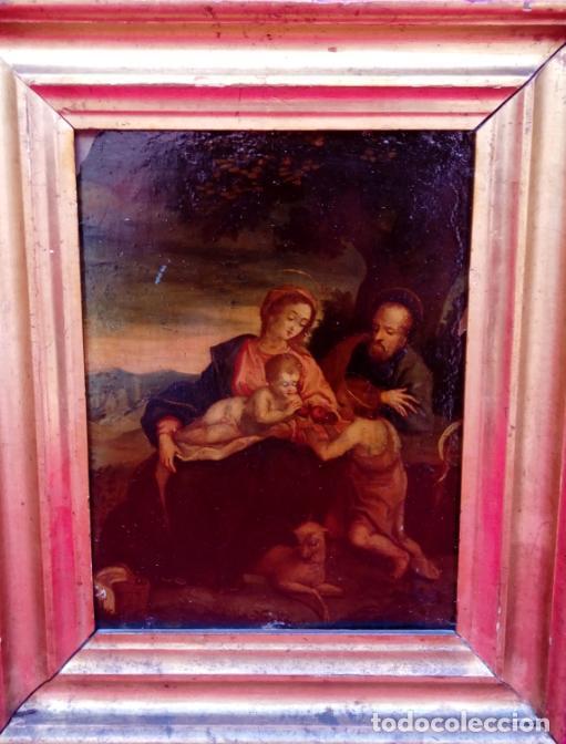 Arte: ÓLEO S/COBRE -SAGRADA FAMILIA CON SAN JUANITO-.. ESCUELA ITALIANA S. XVII. DIM.- 31X25.5 CMS. - Foto 5 - 176693079
