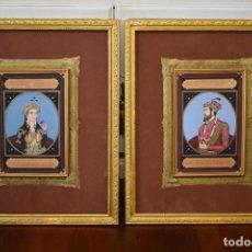 Arte: PINTURA ANTIGUA, MAHARAJA REYES O PRINCIPES DE LA INDIA CON FIRMA Y FECHA 1912 PAREJA DE 2 CUADROS. Lote 101752027
