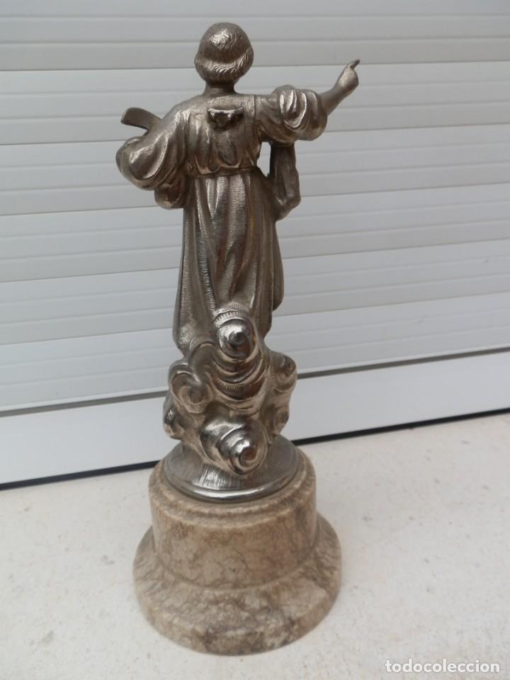 Arte: Imagen antigua de San Pancracio en calamina sobre peana de mármol. - Foto 3 - 224495963