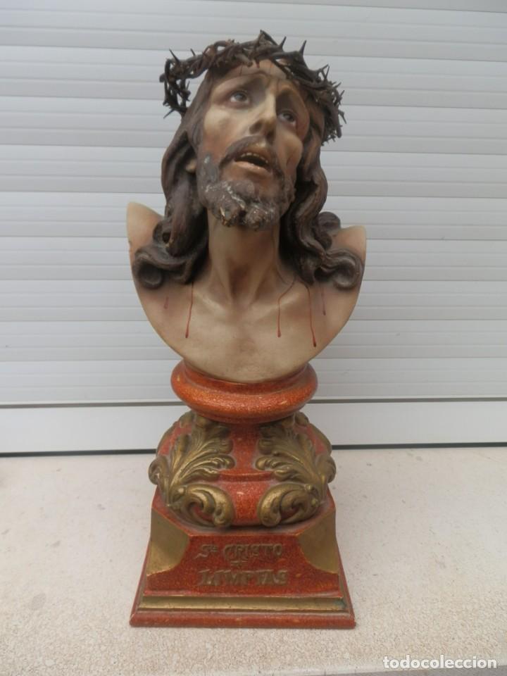 IMAGEN ANTIGUA SANTO CRISTO DE LIMPIAS. OLOT. ESCAYOLA. OJOS DE CRISTAL.CORONA ESPINAS. (Arte - Arte Religioso - Escultura)