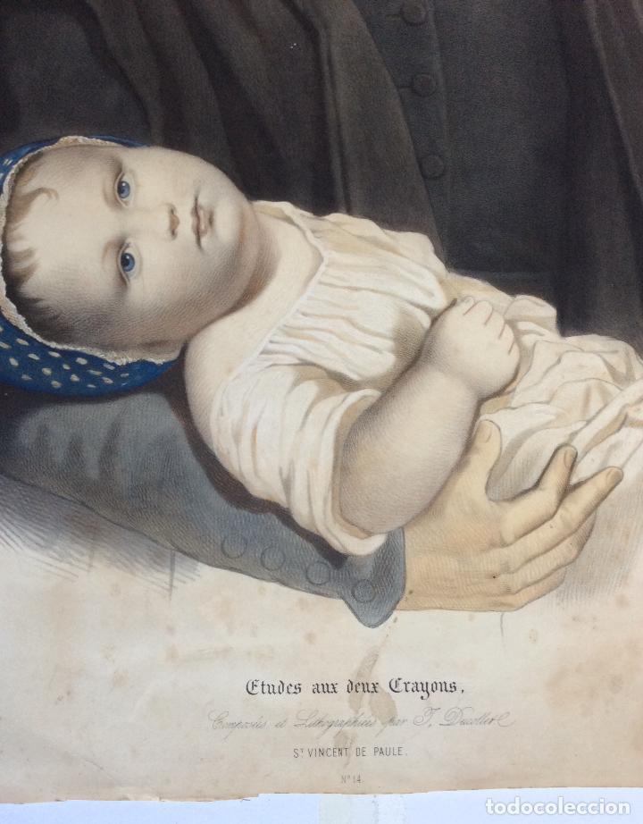 Arte: ANTIGUA LITOGRAFÍA DE SAN VICENTE PAÚL ,Lith.de Becquet Frere ,Medida 66X53 cm - Foto 2 - 224526697