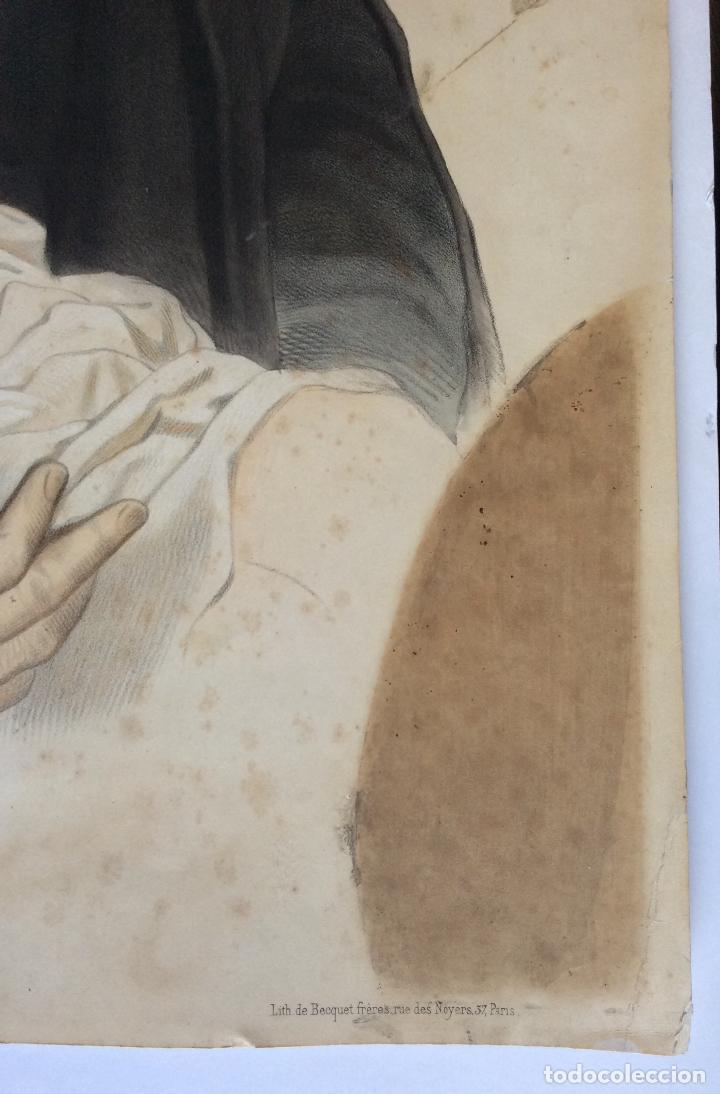 Arte: ANTIGUA LITOGRAFÍA DE SAN VICENTE PAÚL ,Lith.de Becquet Frere ,Medida 66X53 cm - Foto 3 - 224526697