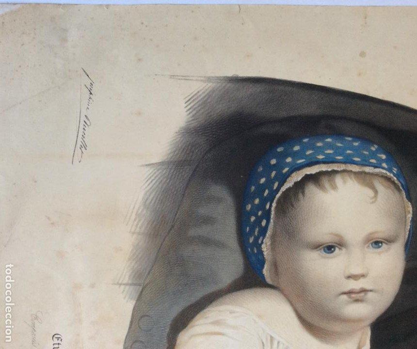 Arte: ANTIGUA LITOGRAFÍA DE SAN VICENTE PAÚL ,Lith.de Becquet Frere ,Medida 66X53 cm - Foto 4 - 224526697