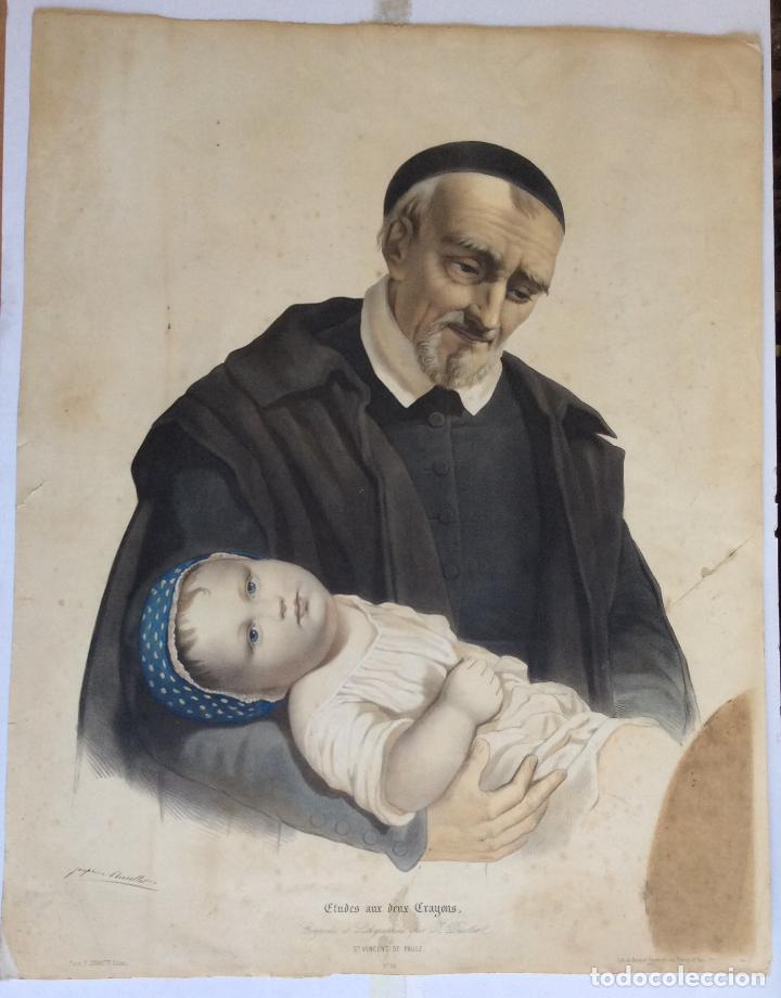 ANTIGUA LITOGRAFÍA DE SAN VICENTE PAÚL ,LITH.DE BECQUET FRERE ,MEDIDA 66X53 CM (Arte - Arte Religioso - Litografías)