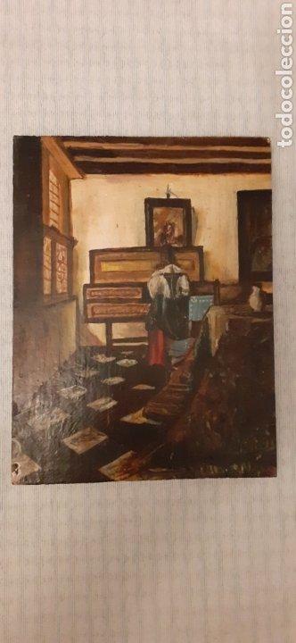OLEO SOBRE TABLA, 24,5 X 19, FIRMA ILEGIBLE (Arte - Arte Religioso - Pintura Religiosa - Oleo)