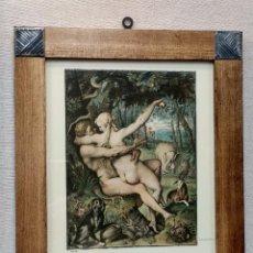 Arte: ADAN Y EVA DE DANIEL FRÖSCH, HANDZEICHNUNGEN ALTER MEISTER ALBERTINA, PLANCHA A COLOR MONTAJE CUADRO. Lote 224569707