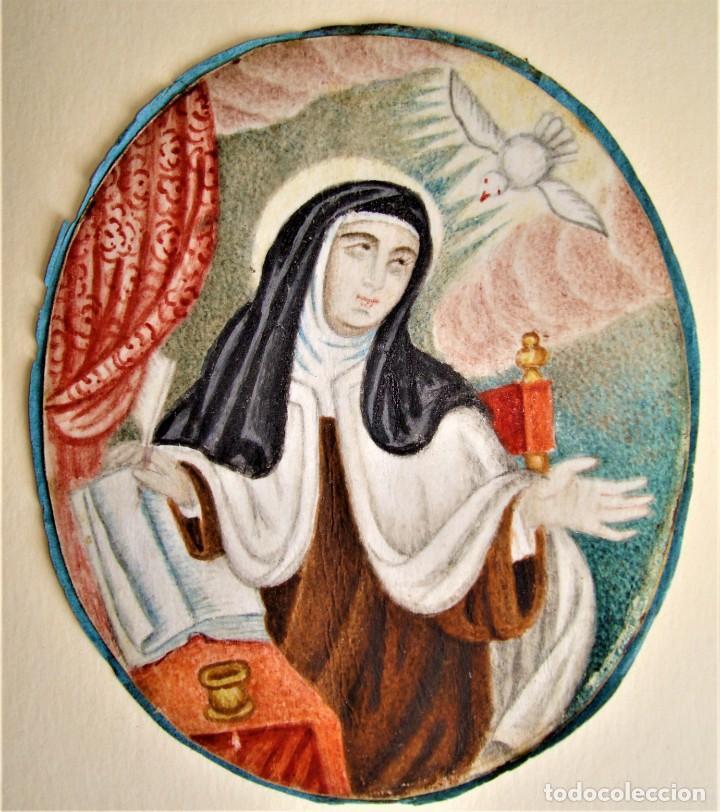 TERESA DE JESÚS PINTADA SOBRE VITELA ANTIGUA O PERGAMINO.CARMELITAS.SANTA. (Arte - Arte Religioso - Pintura Religiosa - Otros)
