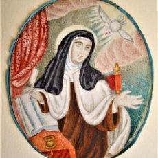 Arte: SANTA TERESA DE JESÚS PINTURA SOBRE VITELA ANTIGUA.CARMELITAS.. Lote 246212570